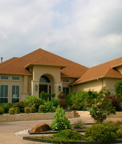 modern brick and stucco house